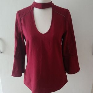 REVIEW Red Blouse Keyhole Neckline size 6